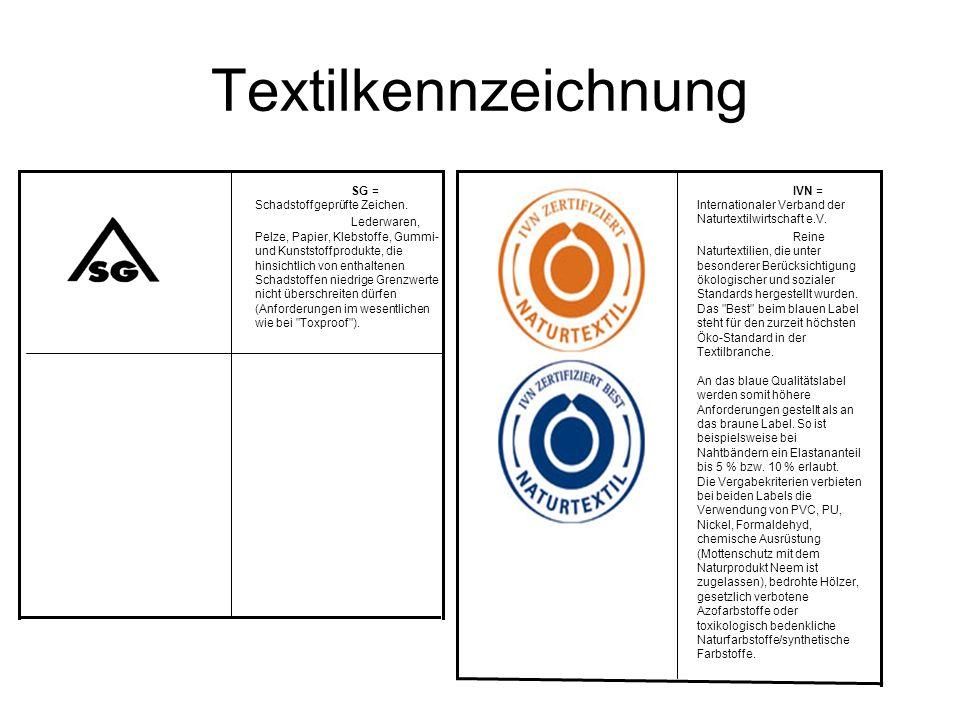 Textilkennzeichnung SG = Schadstoffgeprüfte Zeichen. Lederwaren, Pelze, Papier, Klebstoffe, Gummi- und Kunststoffprodukte, die hinsichtlich von enthal
