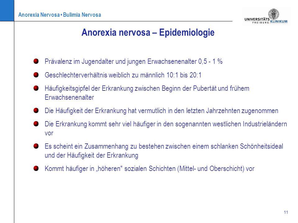 Anorexia Nervosa Bulimia Nervosa 11 Prävalenz im Jugendalter und jungen Erwachsenenalter 0,5 - 1 % Geschlechterverhältnis weiblich zu männlich 10:1 bi