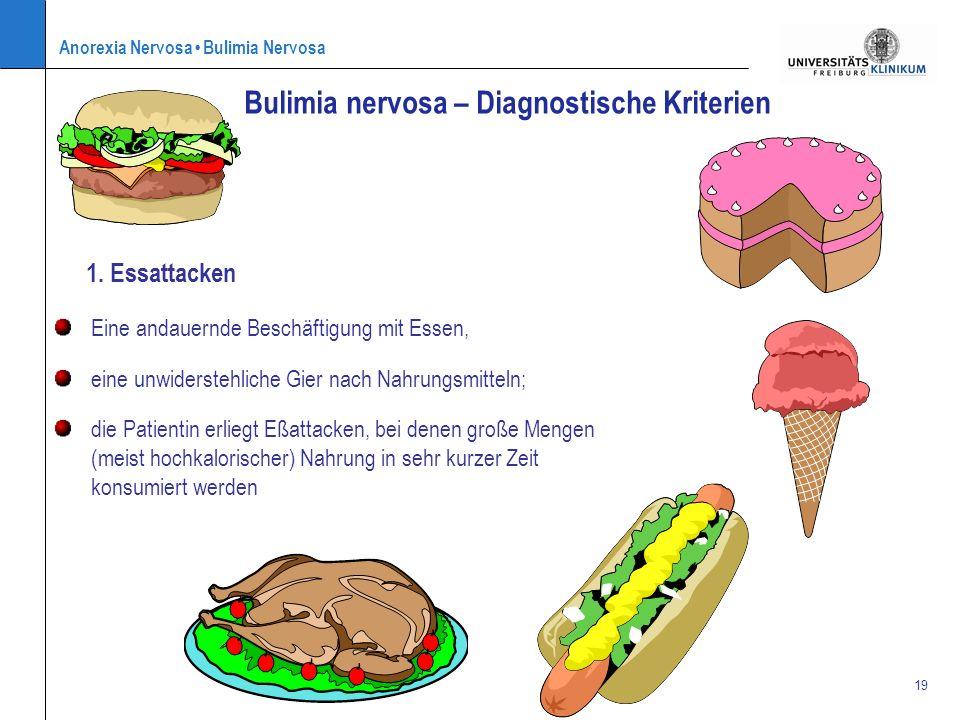 Anorexia Nervosa Bulimia Nervosa 19 1. Essattacken Bulimia nervosa – Diagnostische Kriterien Eine andauernde Beschäftigung mit Essen, eine unwidersteh