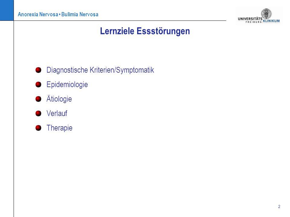 Anorexia Nervosa Bulimia Nervosa 2 Lernziele Essstörungen Diagnostische Kriterien/Symptomatik Epidemiologie Ätiologie Verlauf Therapie