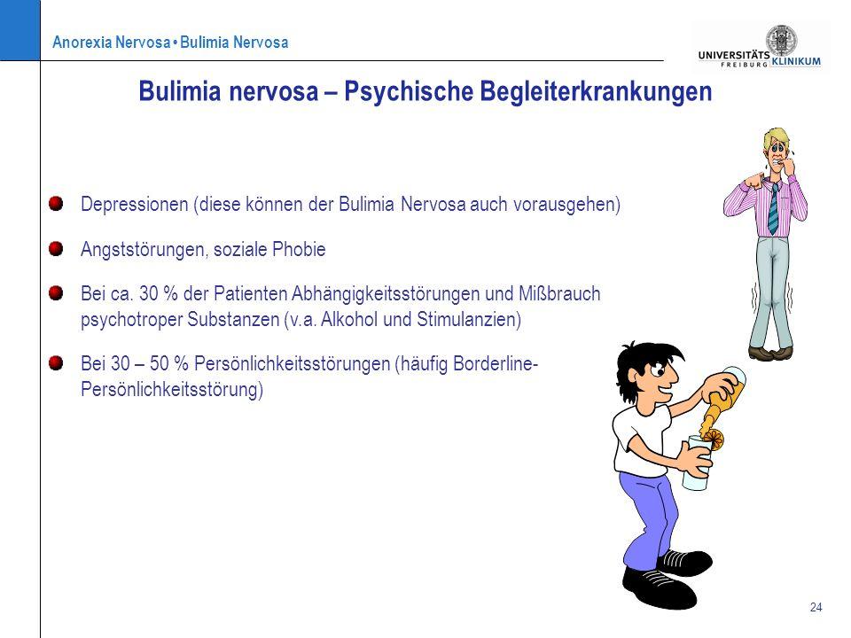 Anorexia Nervosa Bulimia Nervosa 24 Bulimia nervosa – Psychische Begleiterkrankungen Depressionen (diese können der Bulimia Nervosa auch vorausgehen)