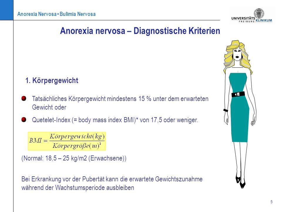 Anorexia Nervosa Bulimia Nervosa 5 1. Körpergewicht Anorexia nervosa – Diagnostische Kriterien Bei Erkrankung vor der Pubertät kann die erwartete Gewi