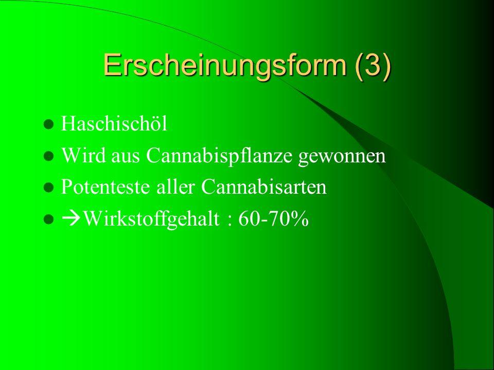 Erscheinungsform (3) Haschischöl Wird aus Cannabispflanze gewonnen Potenteste aller Cannabisarten Wirkstoffgehalt : 60-70%