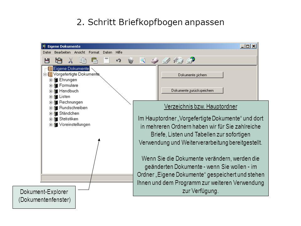 5. Schritt Briefkopfbogen anpassen Wählen Sie das Menü Datei / Neu / Kopfbogen aus.