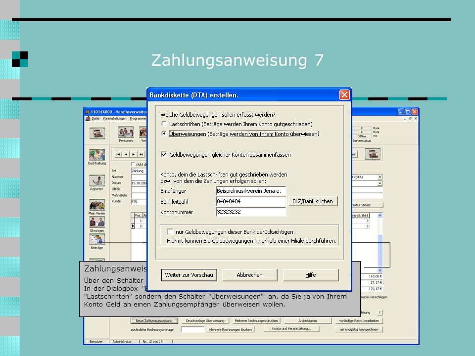 Zahlungsanweisung 7 Zahlungsanweisung erstellen: Über den Schalter