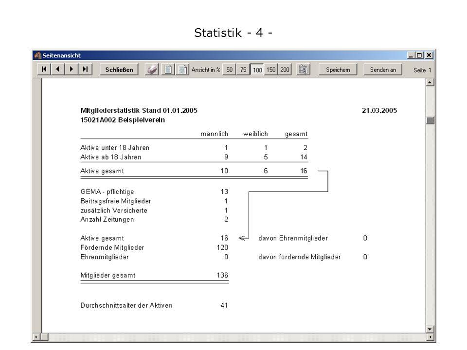 Statistik - 4 - Wenn alle Personen hinterlegt sind, können Sie sofort die Statistik ausdrucken.