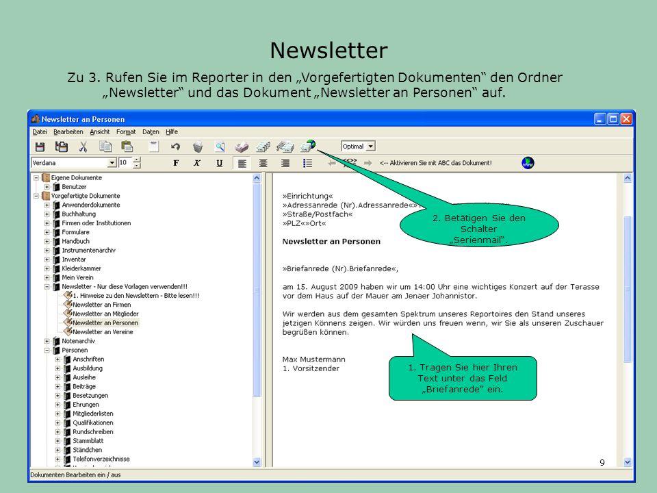 Zu 4. Zur Versendung der Newsletter schalten Sie den zweiten Schalter ein. Newsletter 10