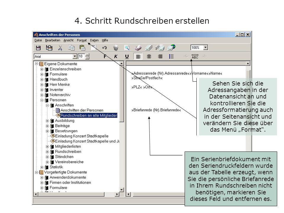 4. Schritt Rundschreiben erstellen Ein Serienbriefdokument mit den Seriendruckfeldern wurde aus der Tabelle erzeugt, wenn Sie die persönliche Briefanr
