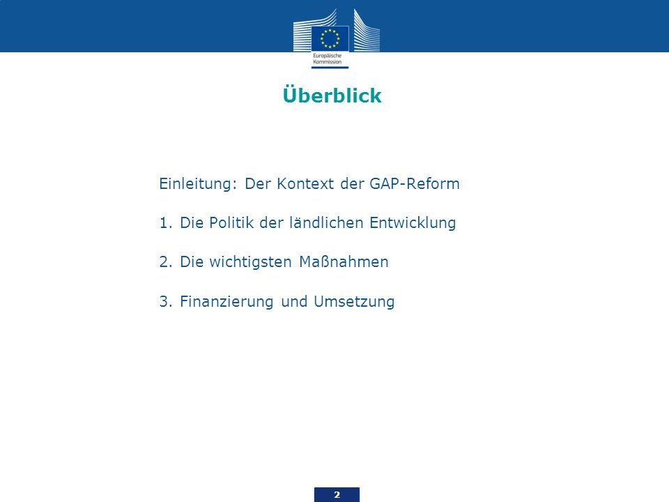 2 Einleitung: Der Kontext der GAP-Reform 1.Die Politik der ländlichen Entwicklung 2.Die wichtigsten Maßnahmen 3.Finanzierung und Umsetzung Überblick