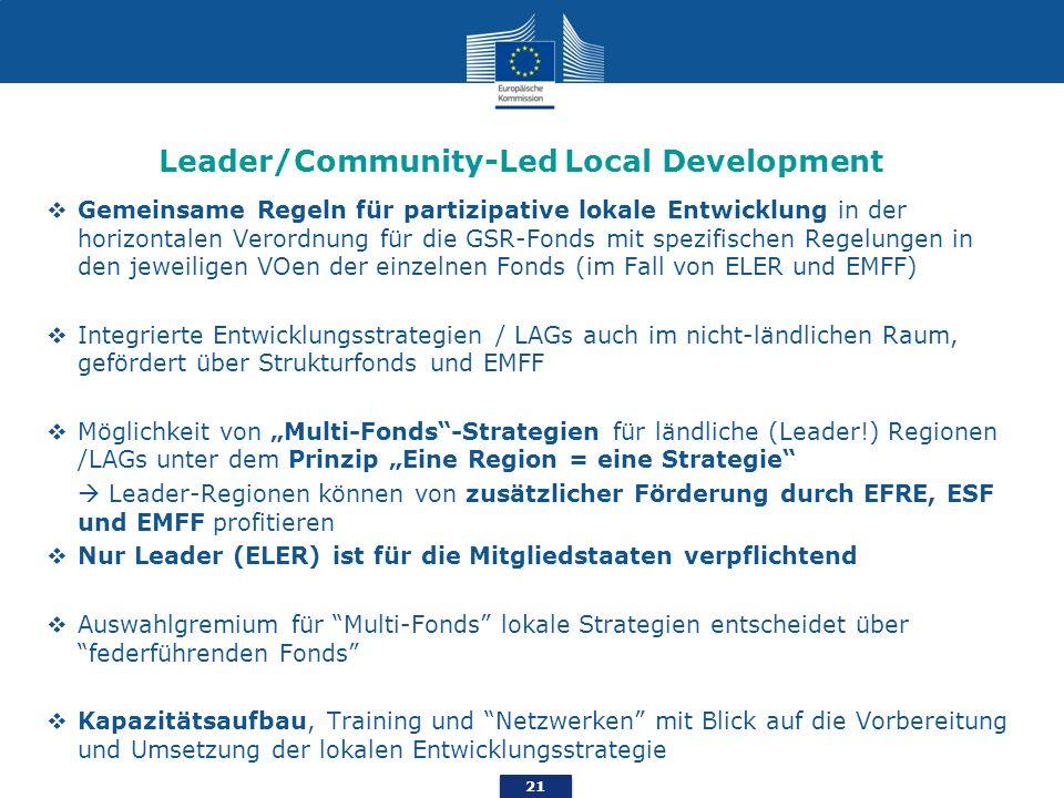 21 Leader/Community-Led Local Development Gemeinsame Regeln für partizipative lokale Entwicklung in der horizontalen Verordnung für die GSR-Fonds mit