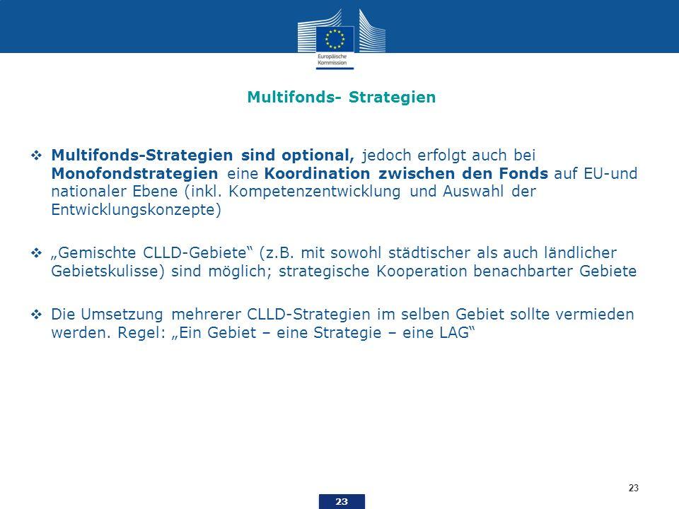 23 Multifonds- Strategien Multifonds-Strategien sind optional, jedoch erfolgt auch bei Monofondstrategien eine Koordination zwischen den Fonds auf EU-