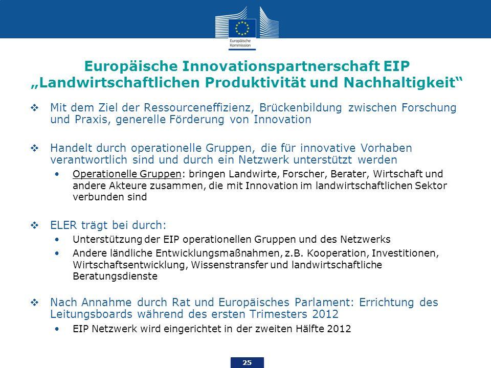 25 Europäische Innovationspartnerschaft EIP Landwirtschaftlichen Produktivität und Nachhaltigkeit Mit dem Ziel der Ressourceneffizienz, Brückenbildung