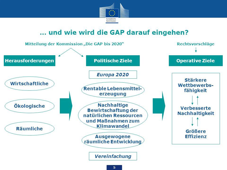 5 … und wie wird die GAP darauf eingehen? Herausforderungen Ökologische Wirtschaftliche Räumliche Mitteilung der Kommission Die GAP bis 2020 Europa 20