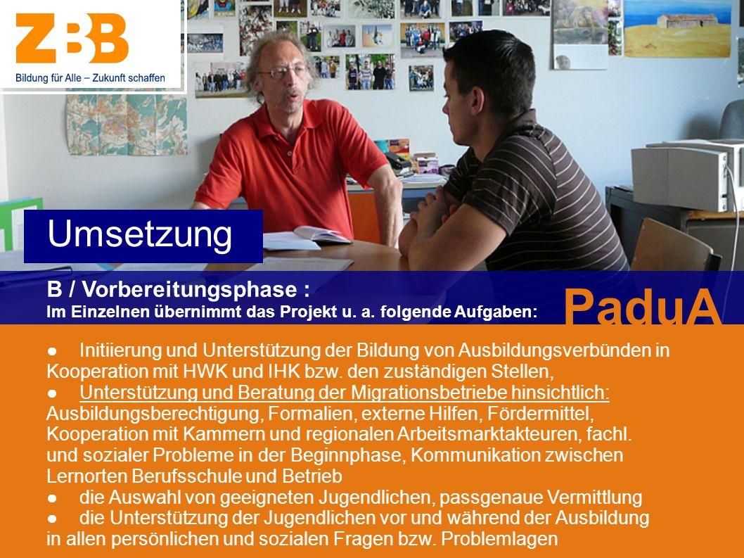 B / Vorbereitungsphase : Im Einzelnen übernimmt das Projekt u. a. folgende Aufgaben: Initiierung und Unterstützung der Bildung von Ausbildungsverbünde