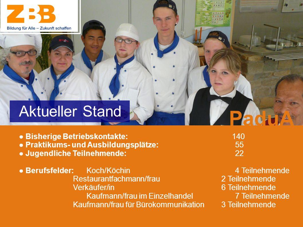 Bisherige Betriebskontakte: 140 Praktikums- und Ausbildungsplätze: 55 Jugendliche Teilnehmende: 22 Berufsfelder: Koch/Köchin 4 Teilnehmende Restaurant