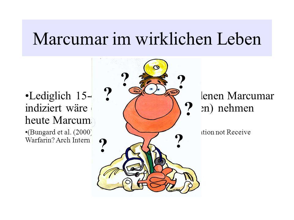 Marcumar im wirklichen Leben Lediglich 15-44% der Patienten, bei denen Marcumar indiziert wäre (keine Kontraindikationen) nehmen heute Marcumar ein. (