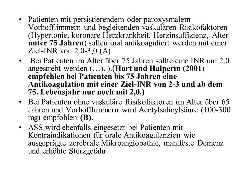 Patienten mit persistierendem oder paroxysmalem Vorhofflimmern und begleitenden vaskulären Risikofaktoren (Hypertonie, koronare Herzkrankheit, Herzins