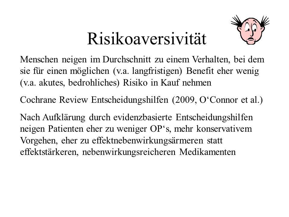 Risikoaversivität Menschen neigen im Durchschnitt zu einem Verhalten, bei dem sie für einen möglichen (v.a. langfristigen) Benefit eher wenig (v.a. ak