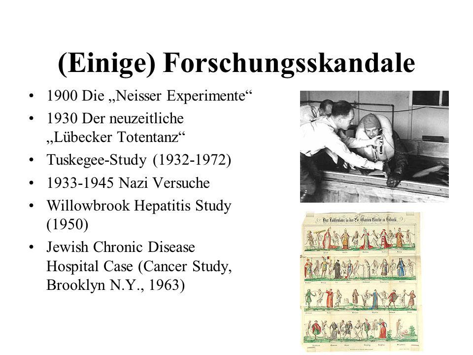 (Einige) Forschungsskandale 1900 Die Neisser Experimente 1930 Der neuzeitliche Lübecker Totentanz Tuskegee-Study (1932-1972) 1933-1945 Nazi Versuche W