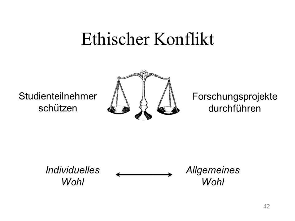 Ethischer Konflikt 42 Studienteilnehmer schützen Forschungsprojekte durchführen Individuelles Wohl Allgemeines Wohl