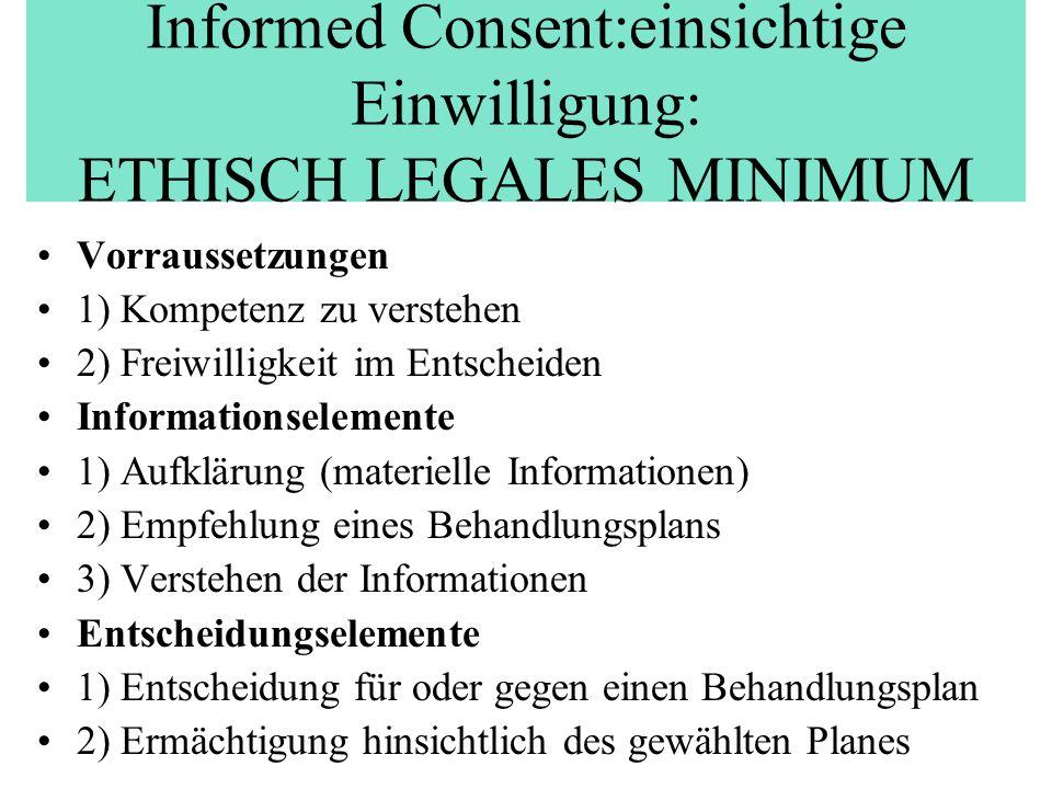 Informed Consent:einsichtige Einwilligung: ETHISCH LEGALES MINIMUM Vorraussetzungen 1) Kompetenz zu verstehen 2) Freiwilligkeit im Entscheiden Informa