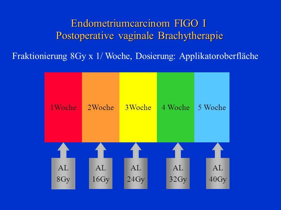 Endometriumcarcinom FIGO I Postoperative vaginale Brachytherapie 1Woche2Woche3Woche4 Woche5 Woche AL 8Gy AL 16Gy AL 24Gy AL 32Gy AL 40Gy Fraktionierun