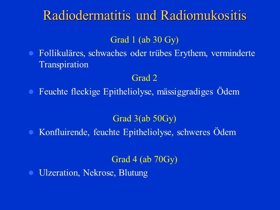 Grad 1 (ab 30 Gy) Follikuläres, schwaches oder trübes Erythem, verminderte Transpiration Grad 2 Feuchte fleckige Epitheliolyse, mässiggradiges Ödem Gr