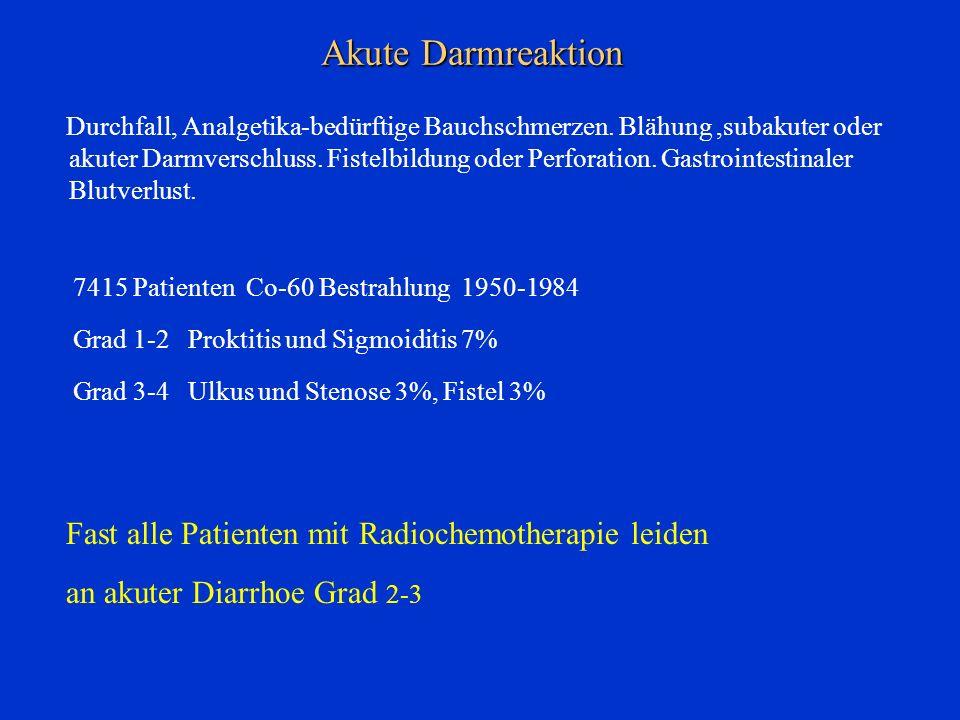 Akute Darmreaktion Durchfall, Analgetika-bedürftige Bauchschmerzen. Blähung,subakuter oder akuter Darmverschluss. Fistelbildung oder Perforation. Gast