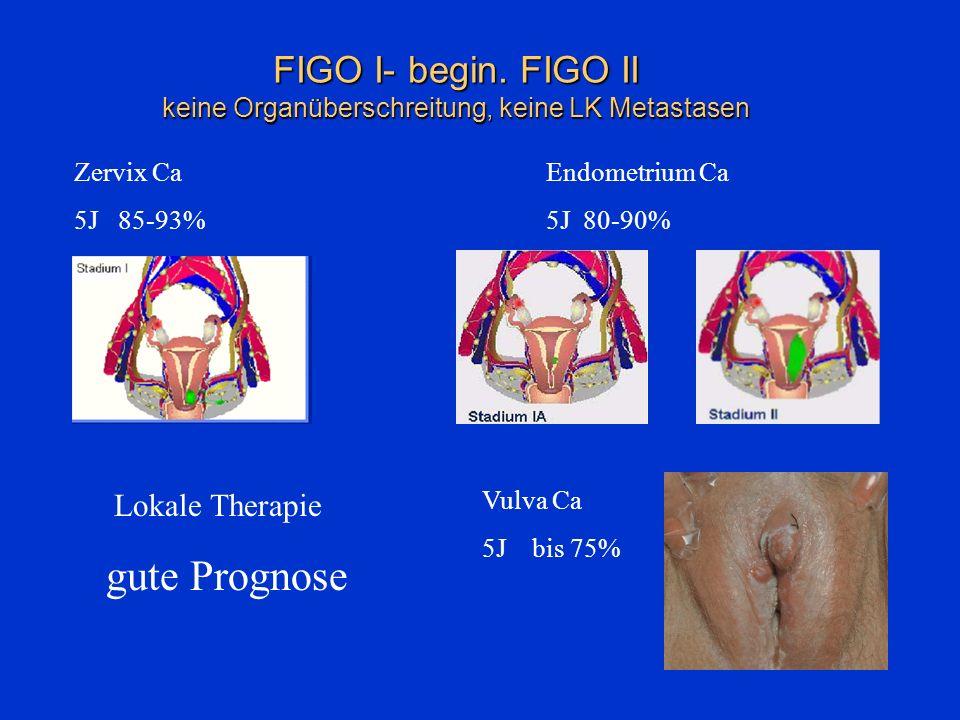 FIGO I- begin. FIGO II keine Organüberschreitung, keine LK Metastasen Zervix Ca 5J 85-93% Endometrium Ca 5J 80-90% Vulva Ca 5J bis 75% Lokale Therapie