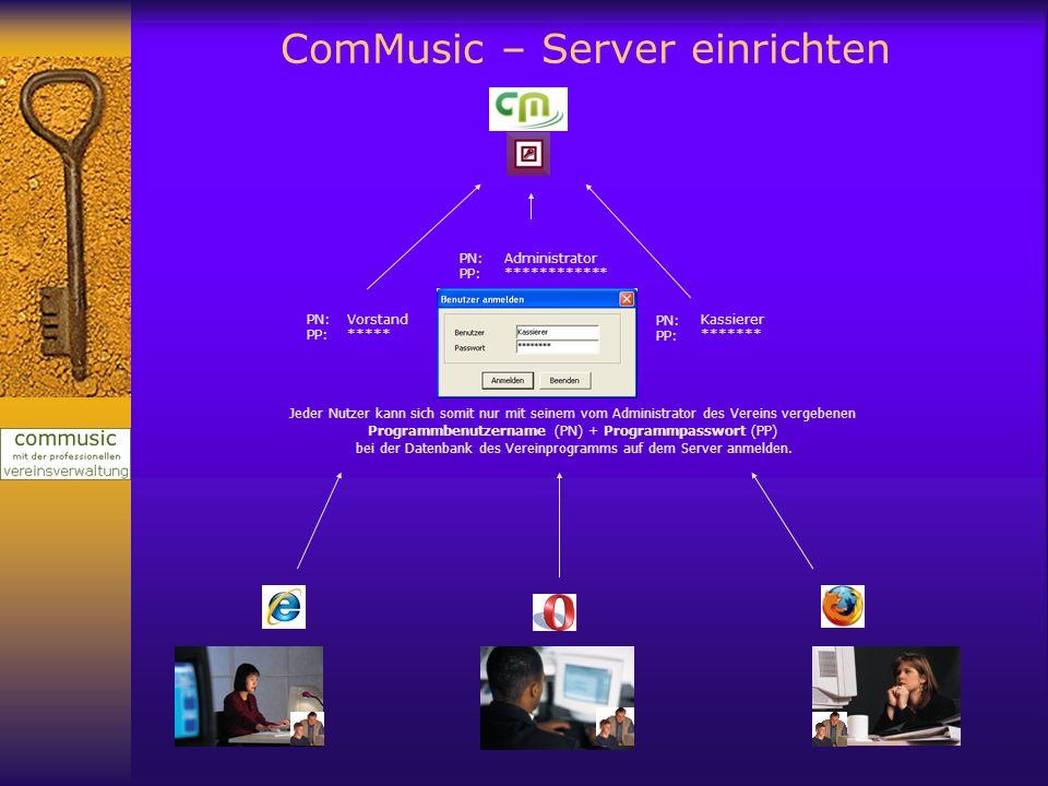 ComMusic – Server einrichten Jeder Nutzer kann sich somit nur mit seinem vom Administrator des Vereins vergebenen Programmbenutzername (PN) + Programm
