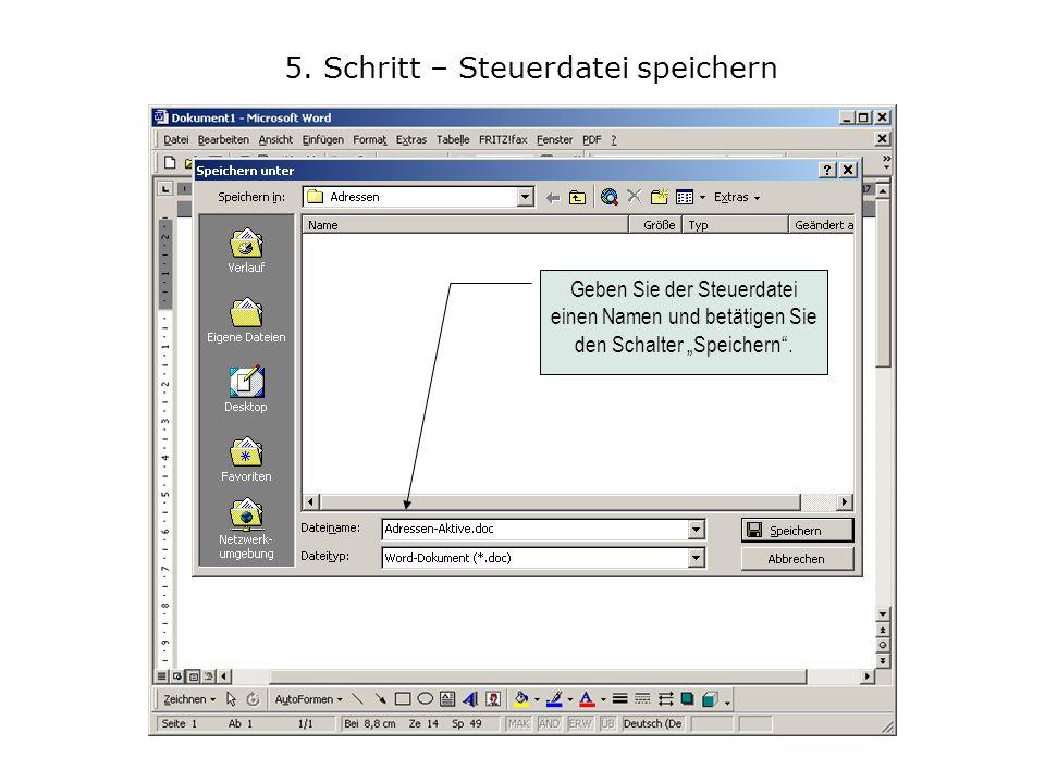 6.Schritt – Neues Dokument öffnen Klicken Sie auf Extras und dort auf Seriendruck...