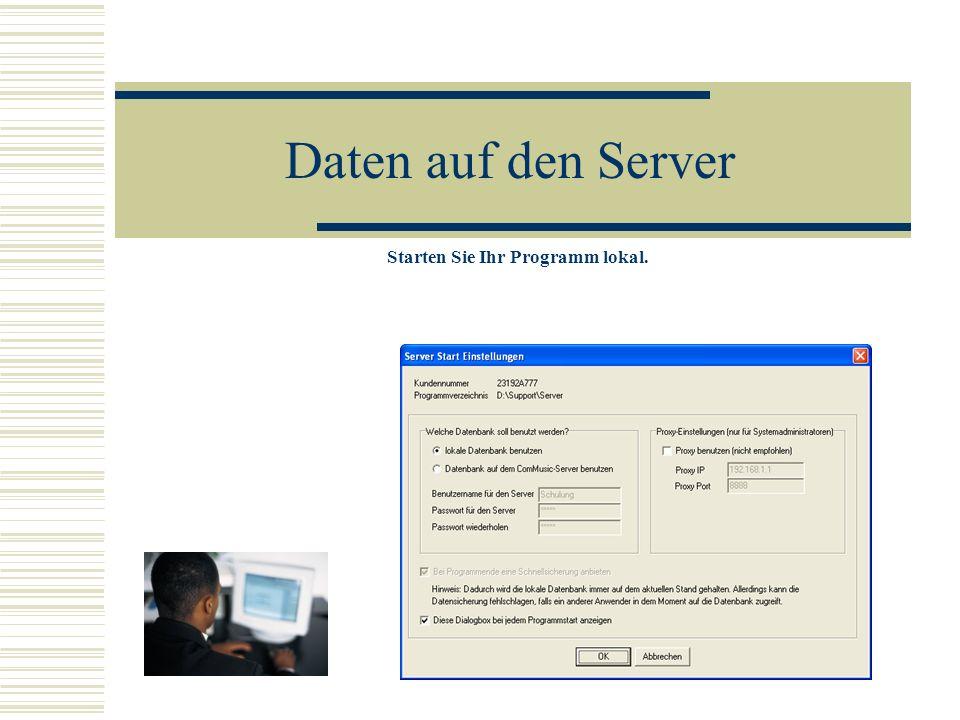 Daten auf den Server Starten Sie Ihr Programm lokal.