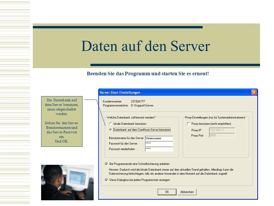 Daten auf den Server Die Datenbank auf dem Server ist noch leer und hat auch noch kein Administratoren- passwort.