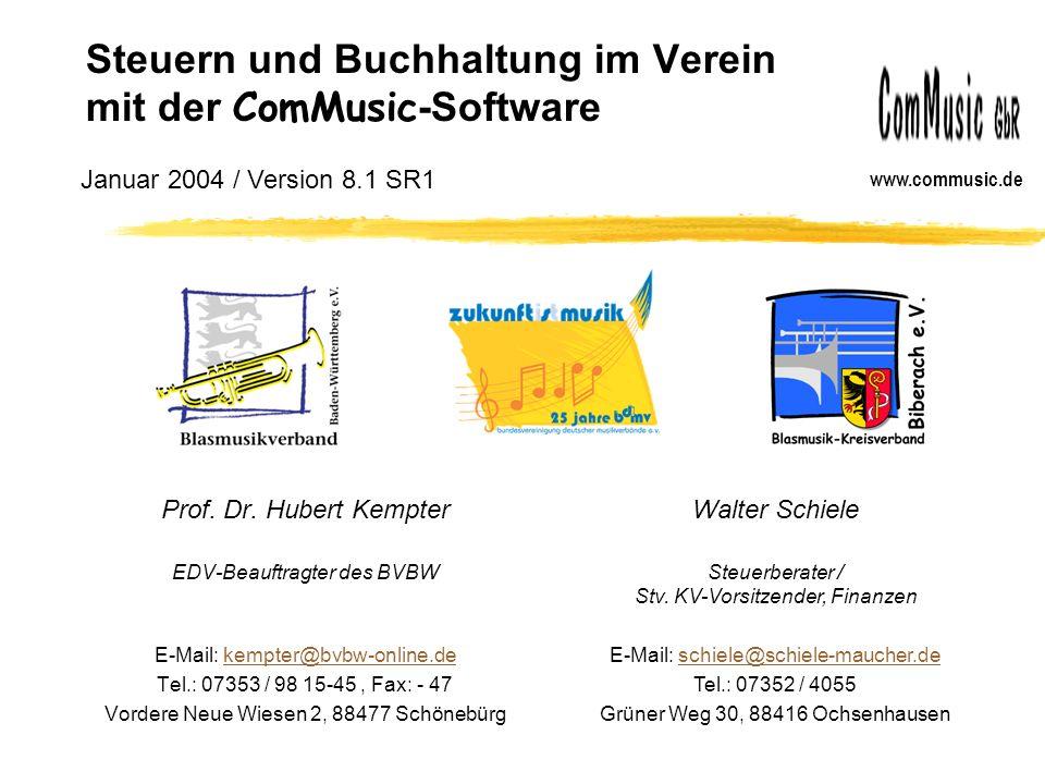 Steuern und Buchhaltung im Verein mit der ComMusic -Software Prof.