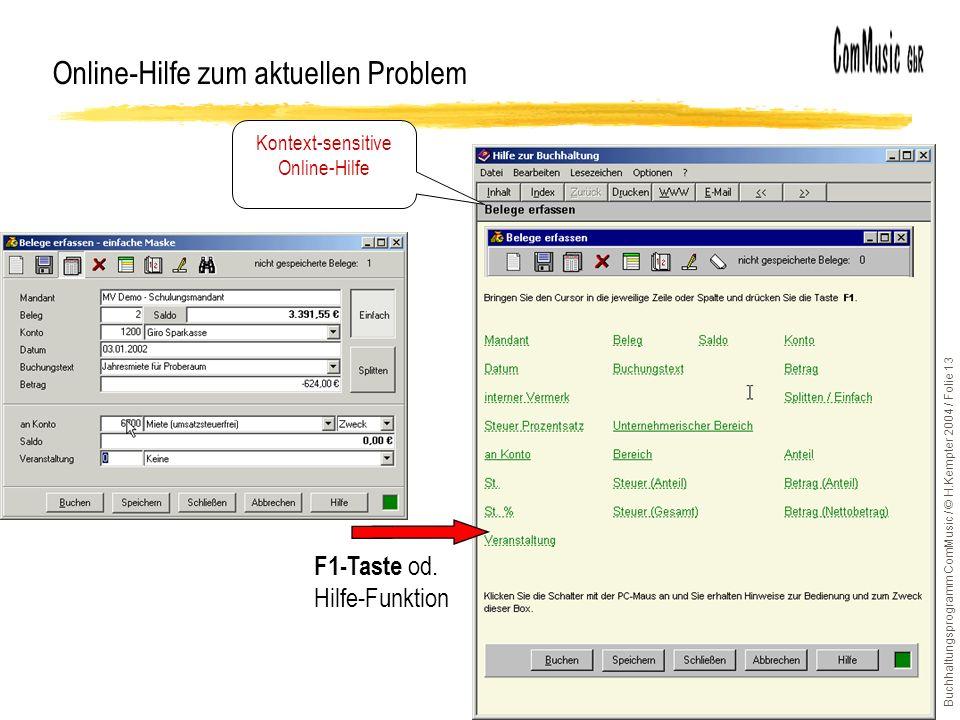 Buchhaltungsprogramm ComMusic / © H.Kempter 2004 / Folie 13 Online-Hilfe zum aktuellen Problem Kontext-sensitive Online-Hilfe F1-Taste od.