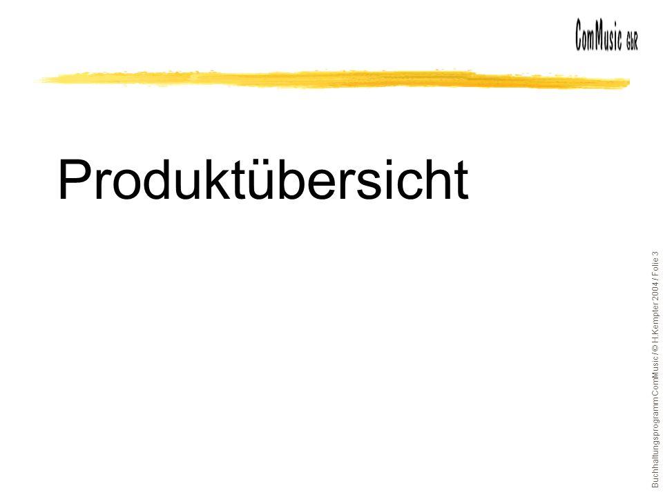 Buchhaltungsprogramm ComMusic / © H.Kempter 2004 / Folie 3 Produktübersicht