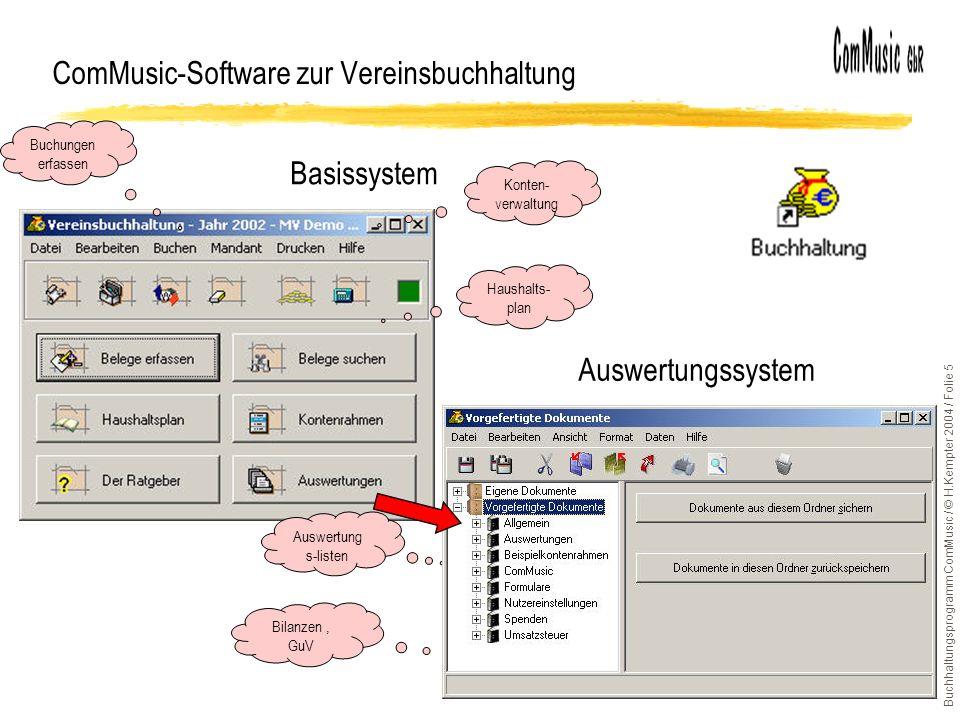 Buchhaltungsprogramm ComMusic / © H.Kempter 2004 / Folie 5 Auswertungssystem Basissystem ComMusic-Software zur Vereinsbuchhaltung Buchungen erfassen Auswertung s-listen Haushalts- plan Bilanzen, GuV Konten- verwaltung
