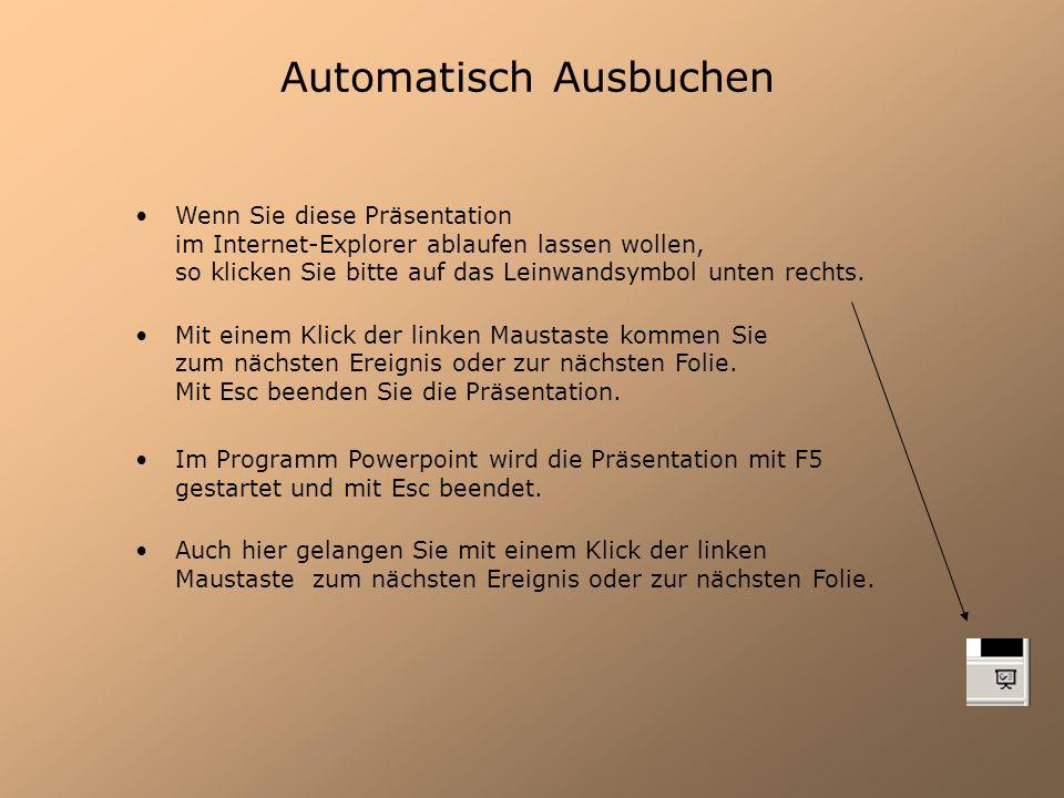 Automatisch Ausbuchen Wenn Sie diese Präsentation im Internet-Explorer ablaufen lassen wollen, so klicken Sie bitte auf das Leinwandsymbol unten recht