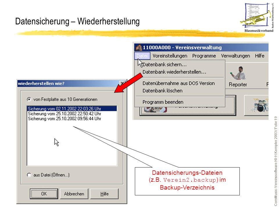 ComMusic-Vereinssoftware / © H.Kempter 2003 / Folie 19 Datensicherung – Wiederherstellung Datensicherungs-Dateien (z.B. Verein2.backup ) im Backup-Ver