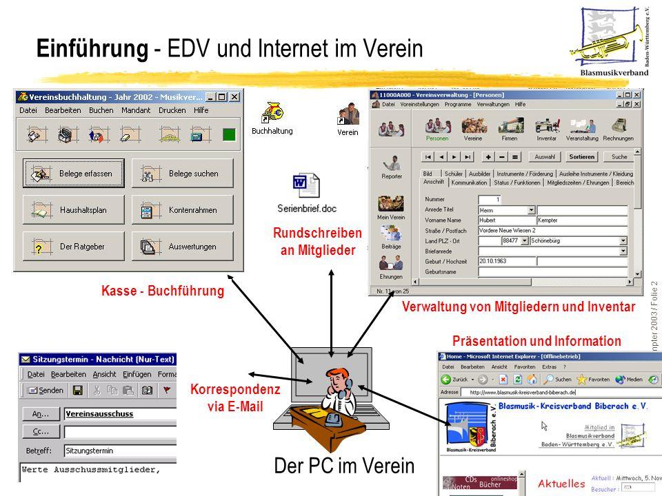 ComMusic-Vereinssoftware / © H.Kempter 2003 / Folie 2 Einführung - EDV und Internet im Verein Der PC im Verein Rundschreiben an Mitglieder Korresponde