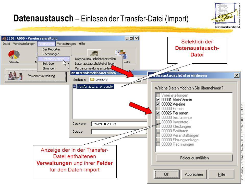ComMusic-Vereinssoftware / © H.Kempter 2003 / Folie 23 Datenaustausch – Einlesen der Transfer-Datei (Import) Selektion der Datenaustausch- Datei Anzei