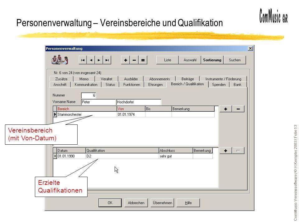 ComMusic-Vereinssoftware / © H.Kempter 2003 / Folie 13 Personenverwaltung – Vereinsbereiche und Qualifikation Vereinsbereich (mit Von-Datum) Erzielte