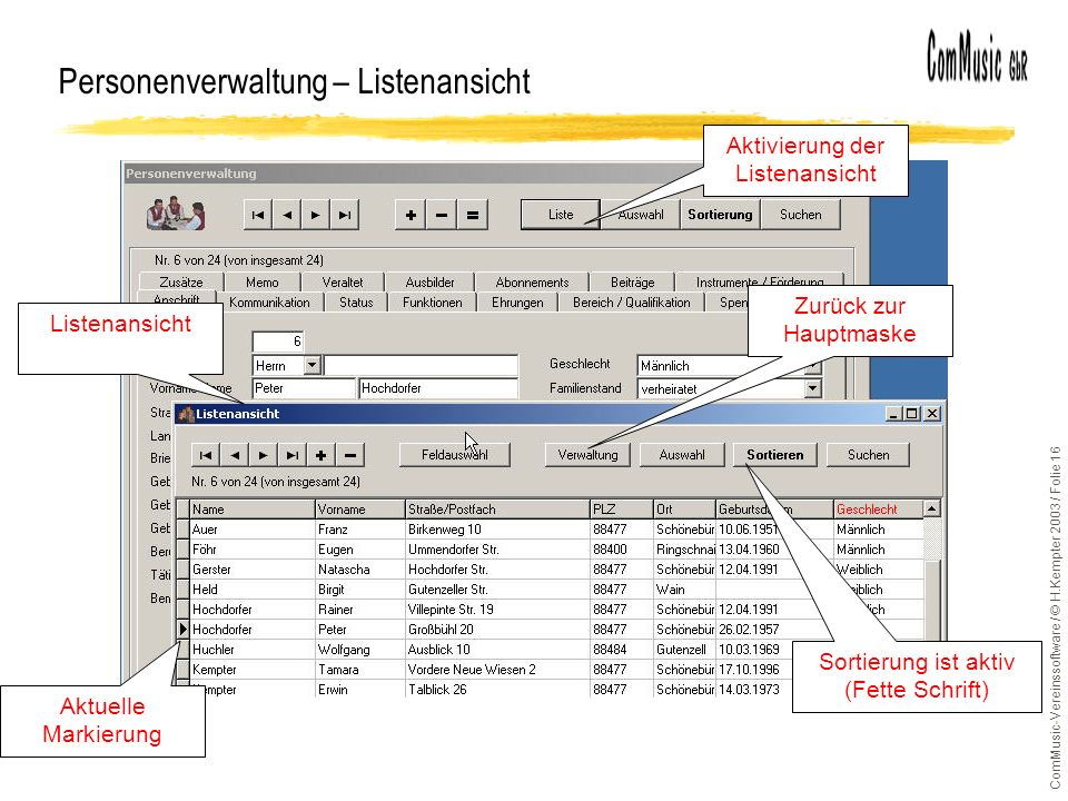 ComMusic-Vereinssoftware / © H.Kempter 2003 / Folie 16 Personenverwaltung – Listenansicht Aktivierung der Listenansicht Listenansicht Aktuelle Markier
