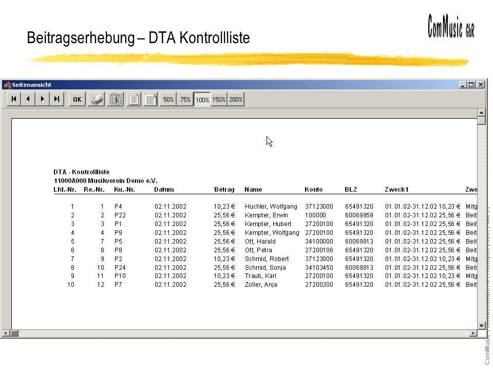 ComMusic-Vereinssoftware / © H.Kempter 2003 / Folie 31 Beitragserhebung – DTA Kontrollliste