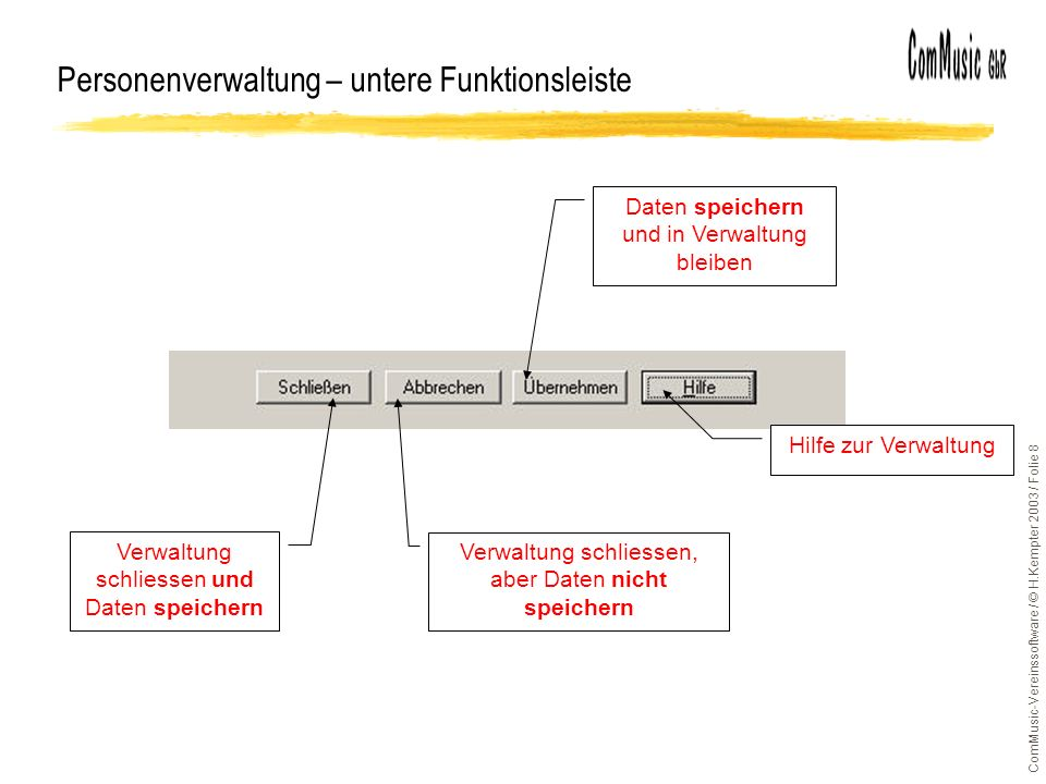 ComMusic-Vereinssoftware / © H.Kempter 2003 / Folie 8 Personenverwaltung – untere Funktionsleiste Verwaltung schliessen und Daten speichern Verwaltung
