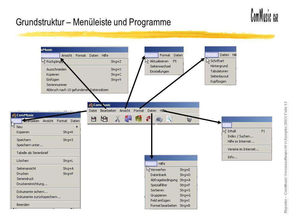 Reporter – ComMusic-Vereinssoftware / © H.Kempter 2003 / Folie 13 Grundstruktur – Menüleiste und Programme