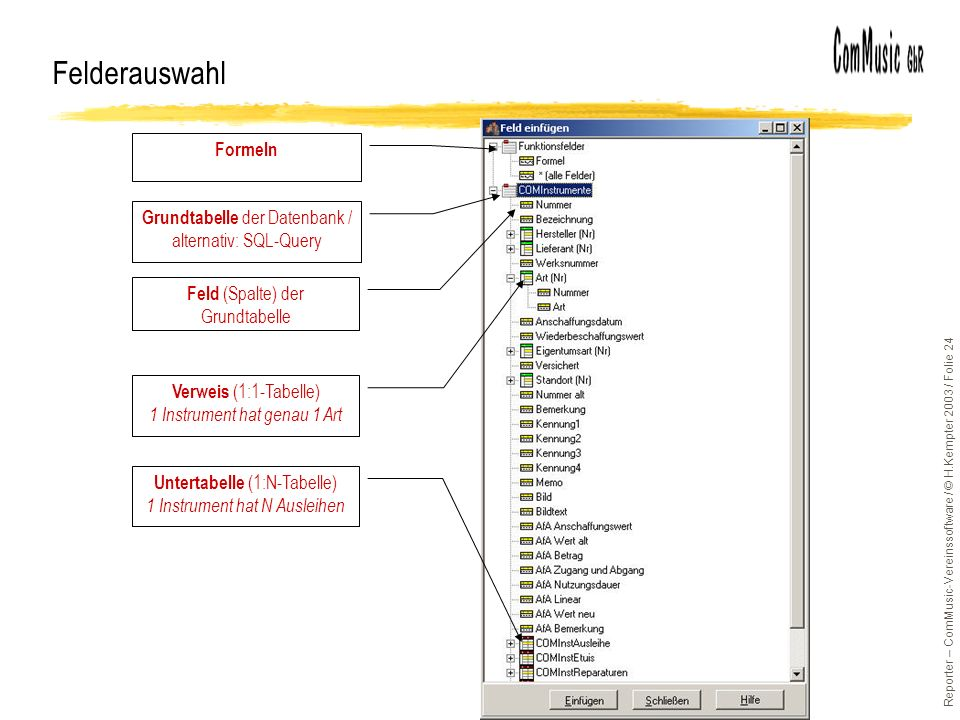 Reporter – ComMusic-Vereinssoftware / © H.Kempter 2003 / Folie 24 Felderauswahl Formeln Grundtabelle der Datenbank / alternativ: SQL-Query Feld (Spalt