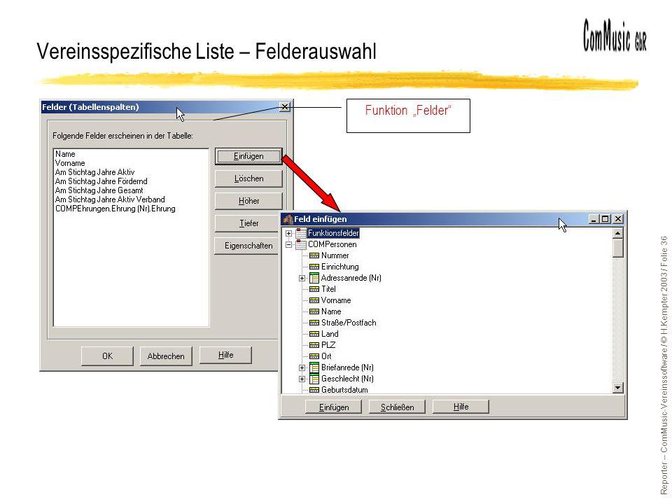 Reporter – ComMusic-Vereinssoftware / © H.Kempter 2003 / Folie 36 Vereinsspezifische Liste – Felderauswahl Funktion Felder
