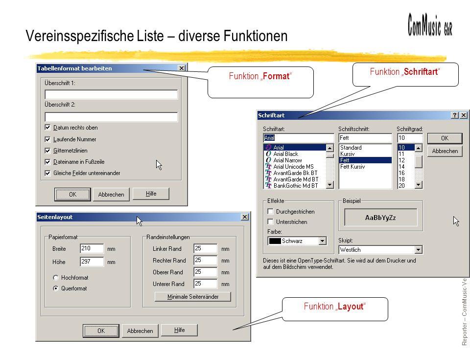 Reporter – ComMusic-Vereinssoftware / © H.Kempter 2003 / Folie 40 Vereinsspezifische Liste – diverse Funktionen Funktion Schriftart Funktion Format Funktion Layout