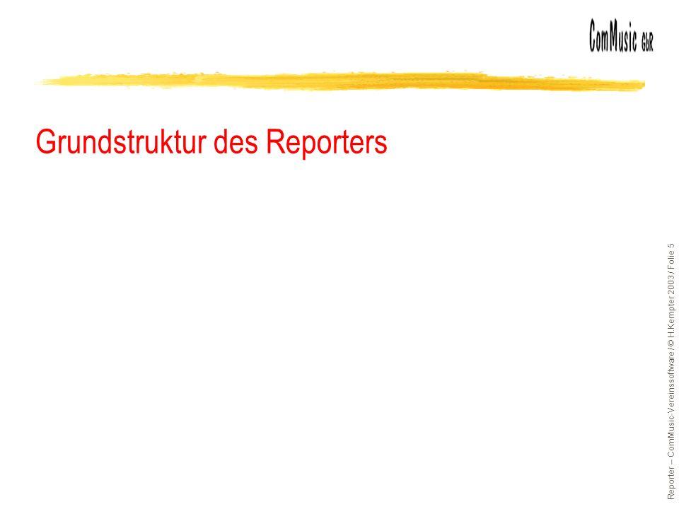 Reporter – ComMusic-Vereinssoftware / © H.Kempter 2003 / Folie 5 Grundstruktur des Reporters